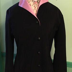 Vintage Miss Dorry Black Blazer Pink Collar 10